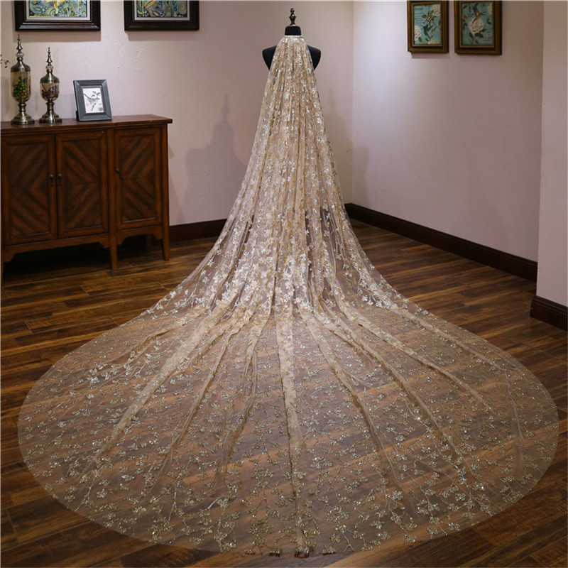 2019 Fashion One Layer 4 Meters One Laye White Champagne 2 Layer Wedding Veil Bridal Veil Bridal Accessories