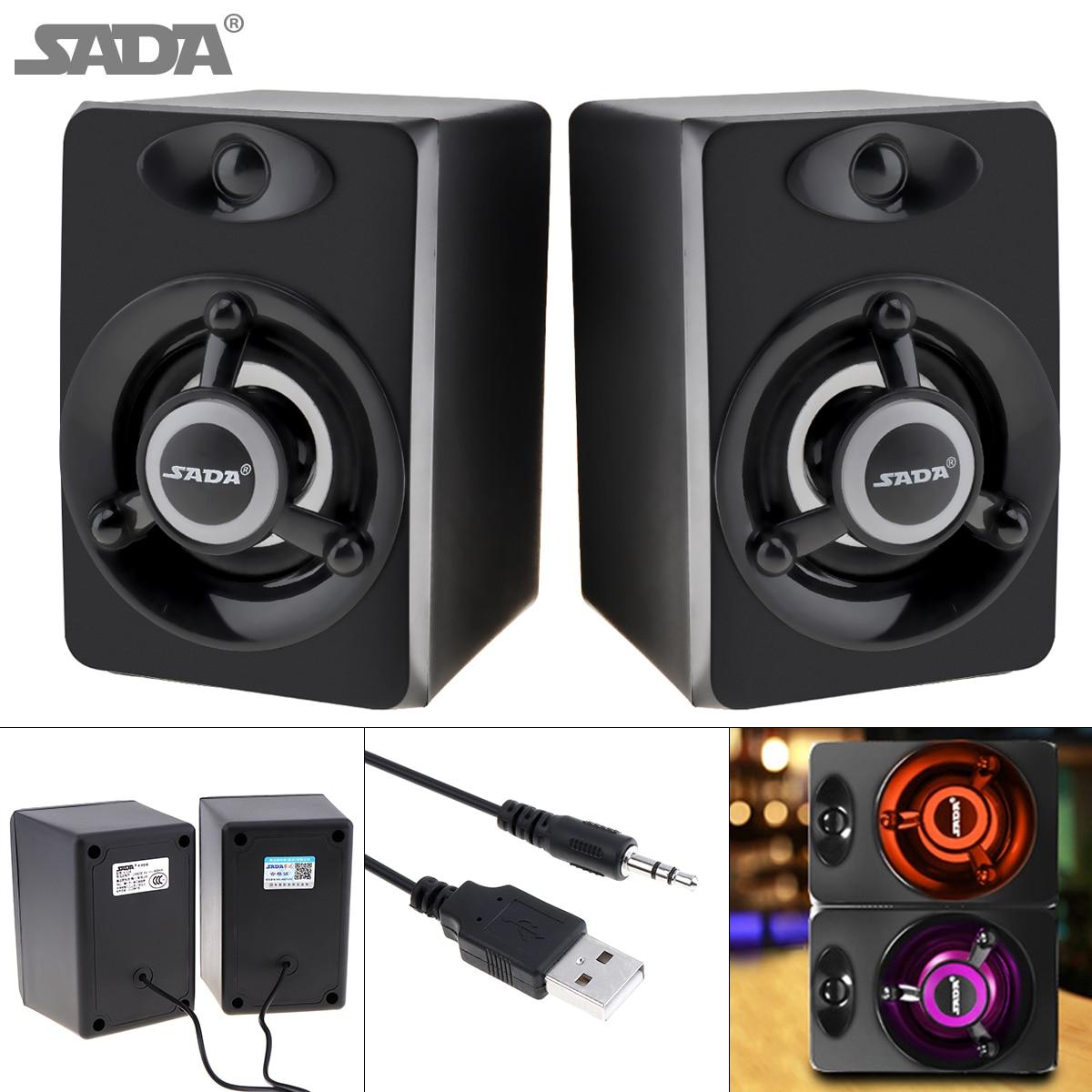 SADA 2018 Newest Subwoofer Deep Bass PC Speaker Portable Music DJ USB Soundar Computer Speakers For laptop Phone TV laptop speaker for dell xps l502x l501x left and right set subwoofer speakers