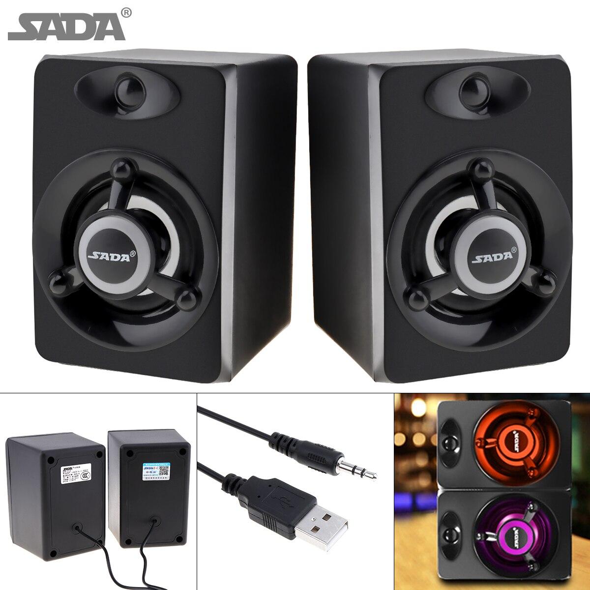 SADA 2018 Newest Subwoofer Deep Bass PC Speaker Portable Music DJ USB Soundar Computer Speakers For laptop Phone TV