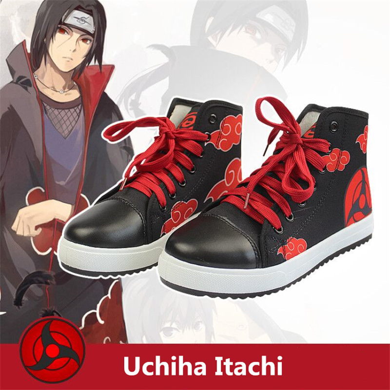 High Quality Naruto Uchiha Itachi Cosplay Props Canvas Boots Unisex Girls Boys Teens Cosplay Akatsuki Ninja Black Red Shoes