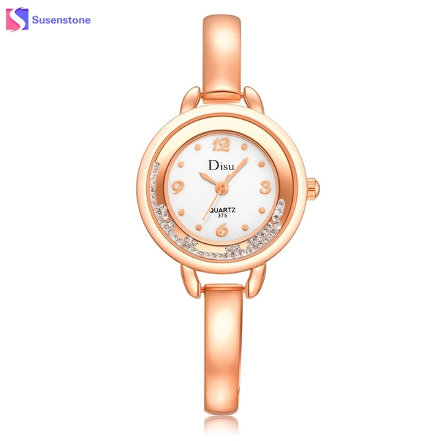 Crystal Beads Women Watch Elegant Stainless Steel Alloy Band Ladies Bracelet Wat