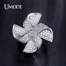 UMODE AAA Zirconia Luxury Rings For Ladies Rhodium plated Fashion Rotatable Windmill Designed Ring Jewelry For Women AUR0339
