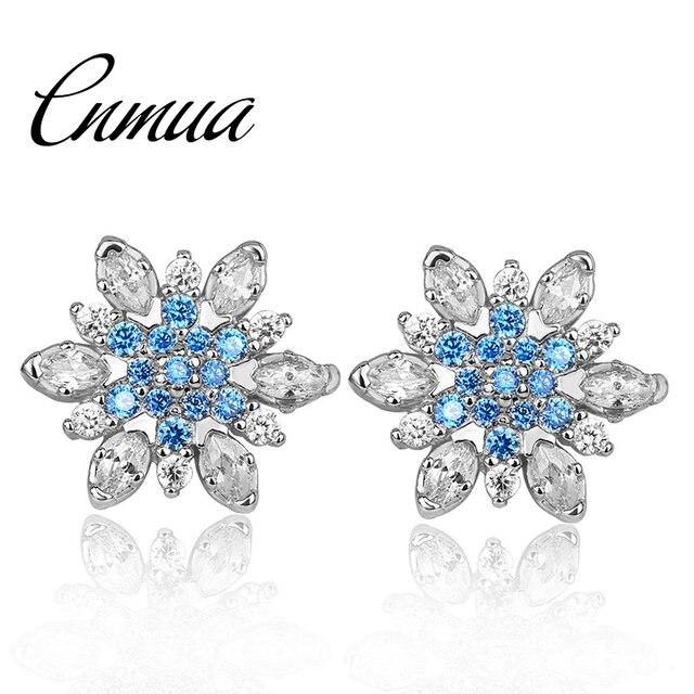 8d6975d82 Snowflake Earrings For Women Rose Silver Plated Crystal Stud Earring  Rhinestone Zircon Snow Flower Ear Jewelry