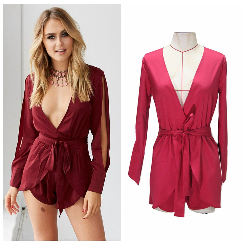New Fashion Elegant Women Playsuits Sexy V-Neck High Waist Long Sleeve Party Club Romp csuit Rompers free shipping Homewear