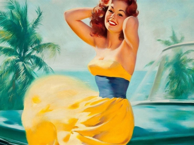 Yellow Dress Pin Up Girl Pop Art Propaganda Retro Vintage Kraft ...