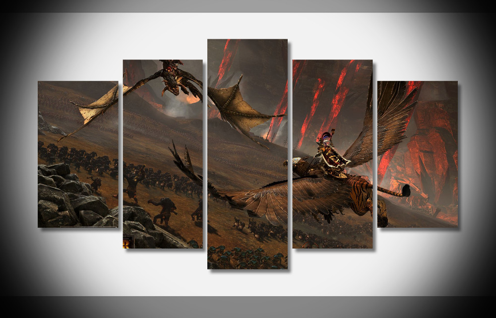 6870 total war warhammer pc  gaming 4k poster Framed Gallery wrap art print home wall decor  wall picture Already to hang digita