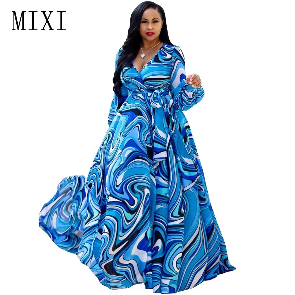 MIXI Boho nyomtatott sifon hosszú ruhák Női V nyakú hosszú ujjú ... 2818a01c1c