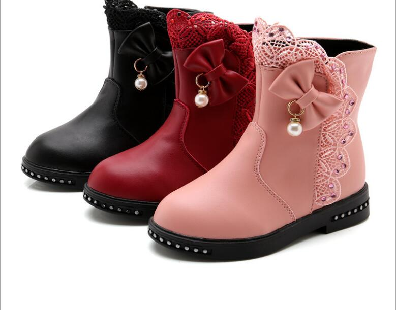 Large size Children Snow Boots Bow Warm Winter Boots Fashion Plush Baby Shoes Water-Proof Sneakers Girls red black Booties(China)