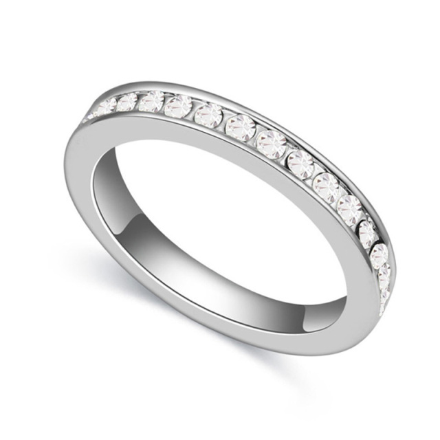 Women Men Engagement Ring Bands White Austrian Crystal Wedding Rings