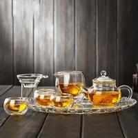 8 piece teapot sets transparent tea tray teapot with filter kung fu tea set focus on thickening glass heat resistant glass set