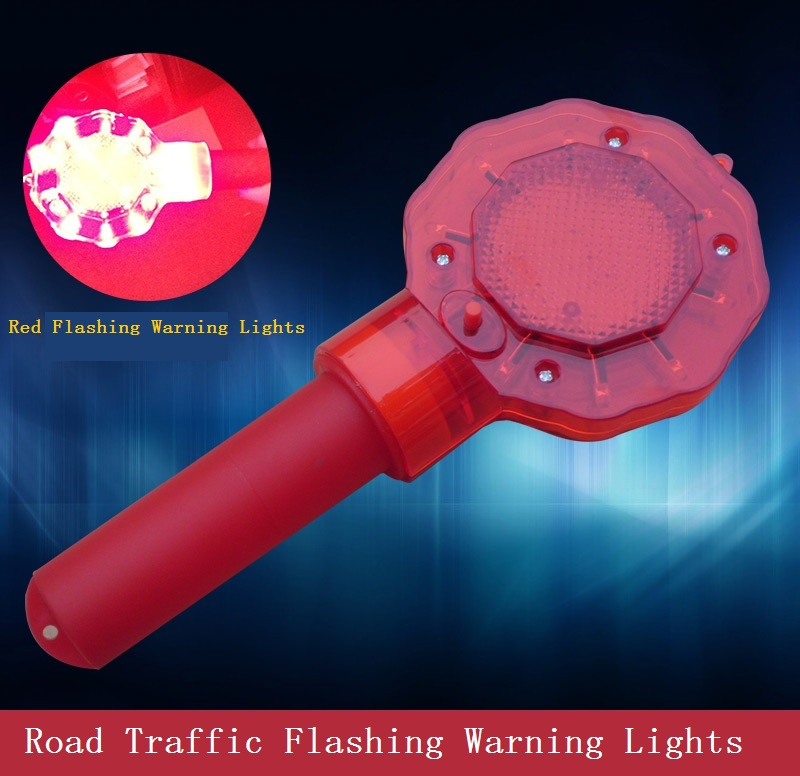 Construction traffic barricade flashing warning lights construction