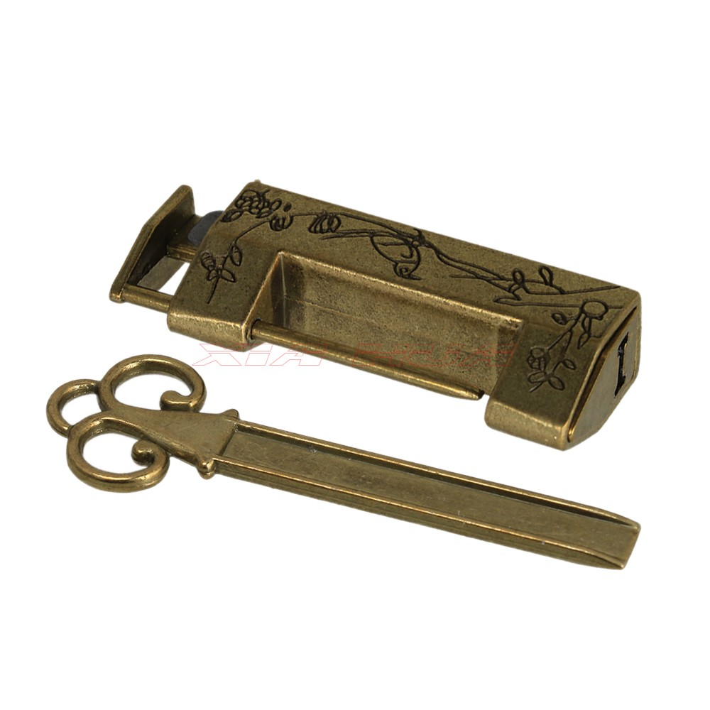 Vintage Carved Bird Flower Leaf Padlock Lock and Key For Jewelry Box Drawer