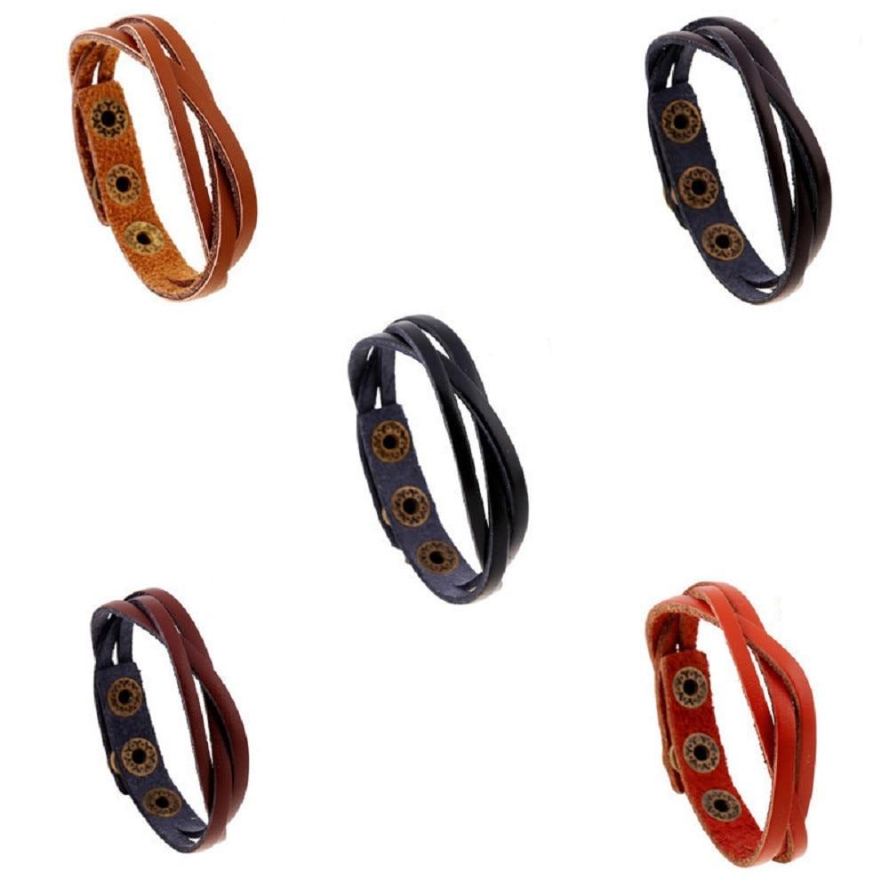 Leather Wrap Rope Wristband Bracelets 3