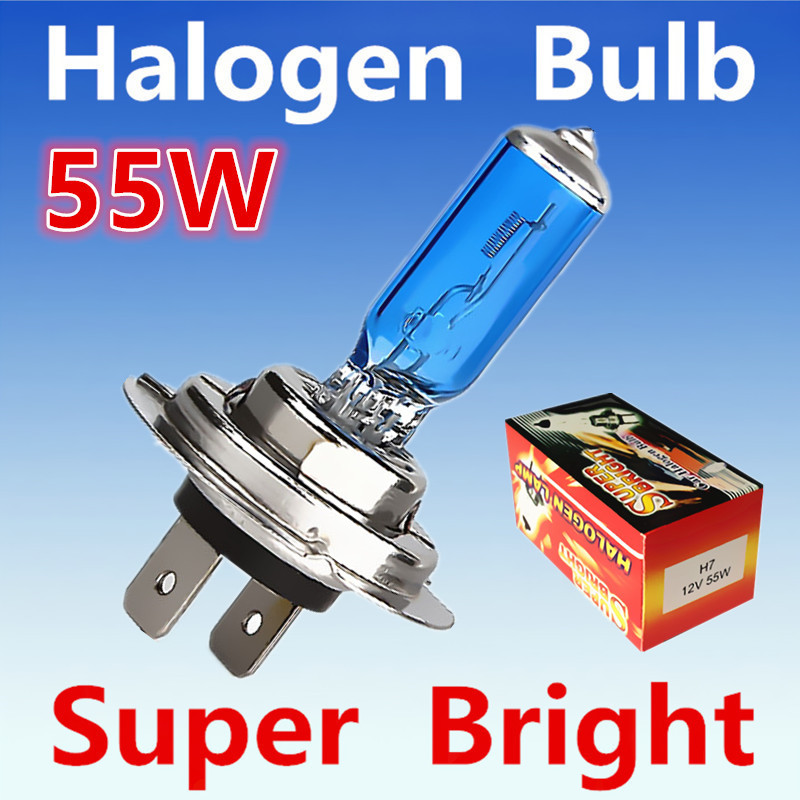2pcs H7 55W 12V Halogen Bulb Super Xenon White Fog Lights High Power Car Headlight Lamp Car Light Source parking 6000K auto 2pcs warm white xenon h4 55w p43t car light source h4 halogen bulb 60w 55w auto motorcycle car led headlight headlamp fog 12v