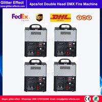 4pcs/lot 110V 220V Stage Light Double Nozzle DMX Disco Fire Machine Mini Size Square Shape Power/DMX Control Flame Projector