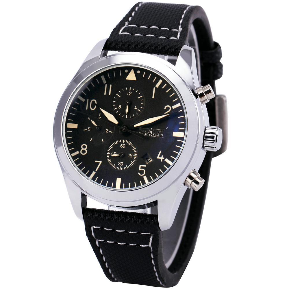 Winner Unisex Automatic Mechanical Wrist Watch Black Canvas Strap Sub dial Display Date Calendar Box