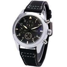 Победитель мужская автоматические механические наручные часы черный холст ремешок — набрать отображение даты календарь + коробка