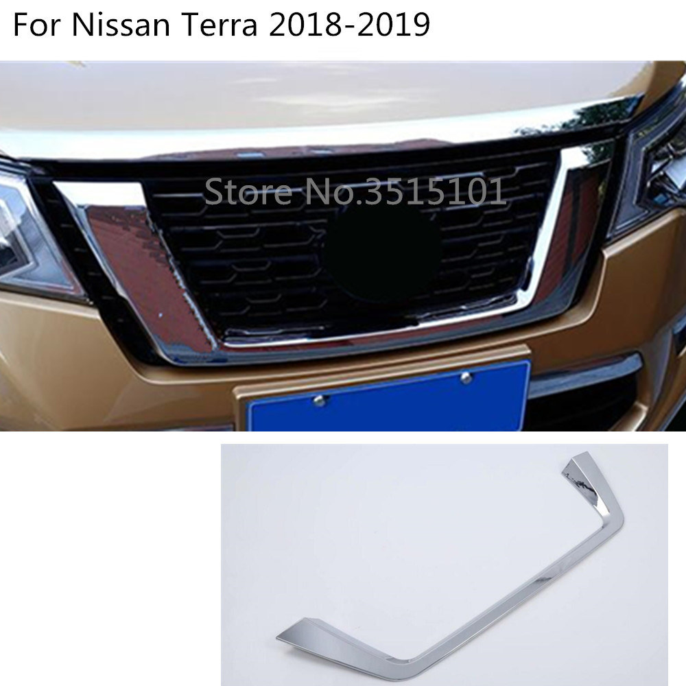 car styling ABS chrome racing Bezel trim Front Grid Grill Grille license plate frame part 1pcs For Nissan Terra 2018 2019 grille