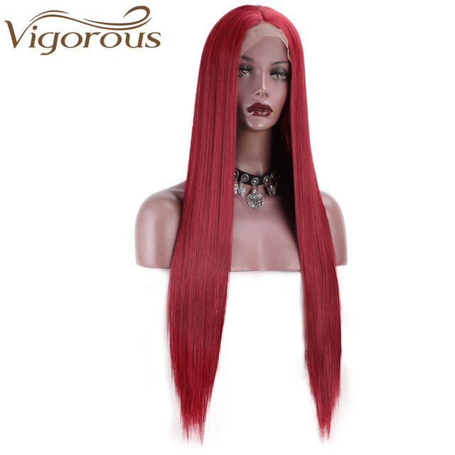 Vigorous Red Lace Front Wigs for Women Synthetic Long Straight Wigs Middle Parting Heat Resistant Fiber Natural Looking 13x4 2