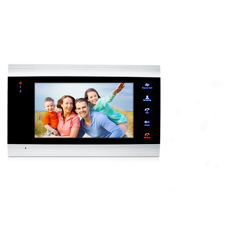 JeaTone 7 Inch Indoor Monitor Video Door Phone Doorbell Intercom System Video Recording Photo Taking Silver