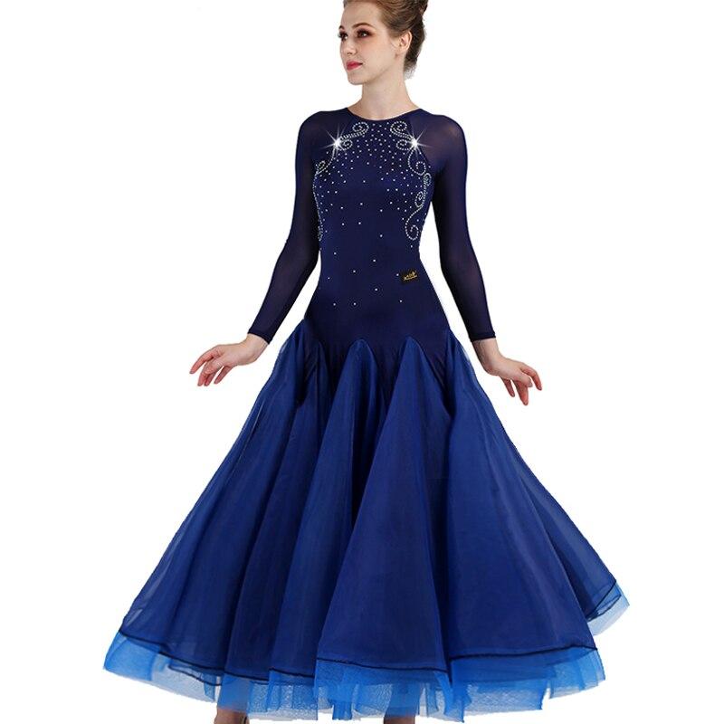 Long sleeve ballroom dance competition dresses customized waltz standard ballroom dress woman girls ballroom dance dresses