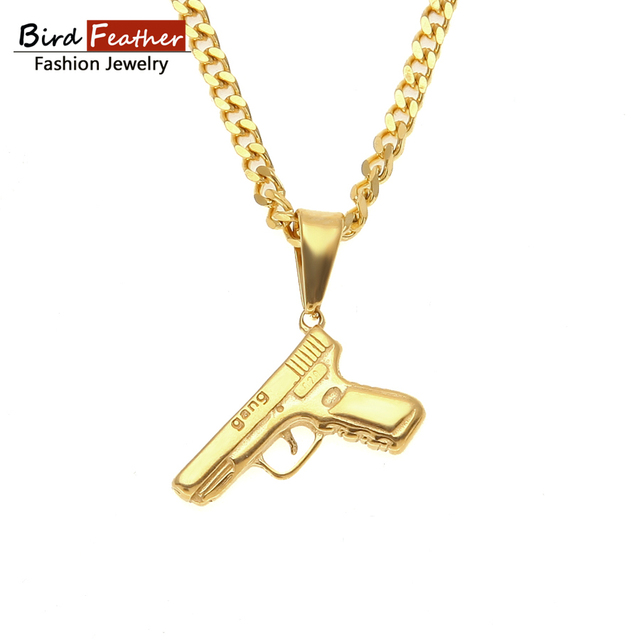 Golden Color Stainless Steel Necklace for men women Gangster Gun Pendant  Chain Necklaces   Pendants Hip Hop Fashion Jewelry 70cdeaffa0