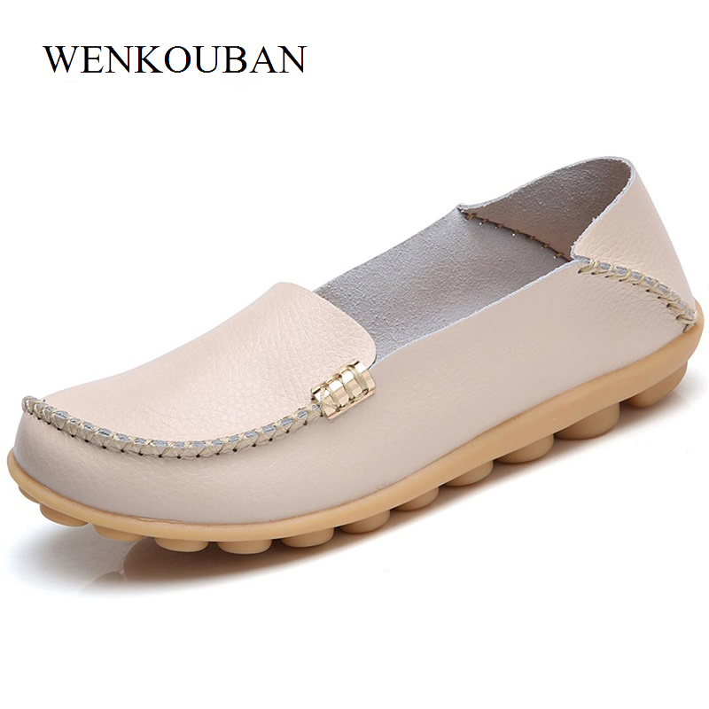 Summer Women Ballet Flats Shoes Genuine Leather Loafers Slip on Moccasins Casual Shoes ladies Comfortable Ballerina Plus Size 44 women s shoes hosteven pu leather loafers comfortable shoes women flats moccasins solid ladies casual shoe ballet footwear