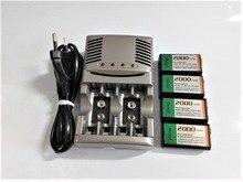 4 Uds. 9v SUPER grande 2000mAh NiMH baterías recargables 9 voltios + Universal 9v aa aaa cargador de batería