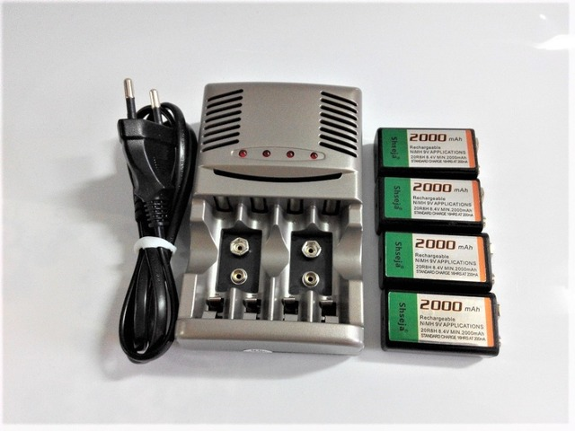 4 stuks 9v SUPER GROTE 2000mAh NiMH batterijen Oplaadbare 9 Volt Batterij + Universele 9v aa aaa batterij oplader