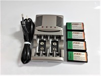 4pcs 9v SUPER BIG 2000mAh NiMH batteries Rechargeable 9 Volt Battery + Universal 9v aa aaa battery charger