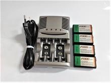 4pcs 9v SUPER BIG 2000mAh batterie NiMH Ricaricabile 9 Volt Battery + Universale 9v aa aaa caricabatteria