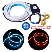 1.2M 3 Color Flowing Type DRL Trunk Box Turn Signals Rear Lights LED Strips Car Braking Light Day Running Lights Decoration Lamp