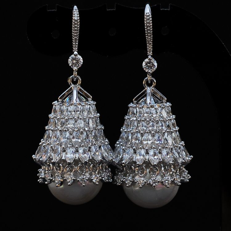 XIFAN luxurious crystal earrings vintage pearl earrings with big pearl earring long for women купить в Москве 2019