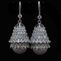 XIFAN luxurious crystal earrings vintage pearl earrings with big pearl earring long for women