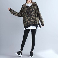 Vintage Camouflage Zip Up Hoodies Jackets For Women Jackets Coats Long Sleeve Autumn Plus Size Fashion Loose Outerwear 5XL 2019