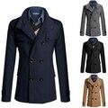 Alta calidad 2015 hombres del invierno de la capa de foso a la moda Slim Fit doble de pecho abrigo de lana largo para hombre cálido abrigo Trench negro