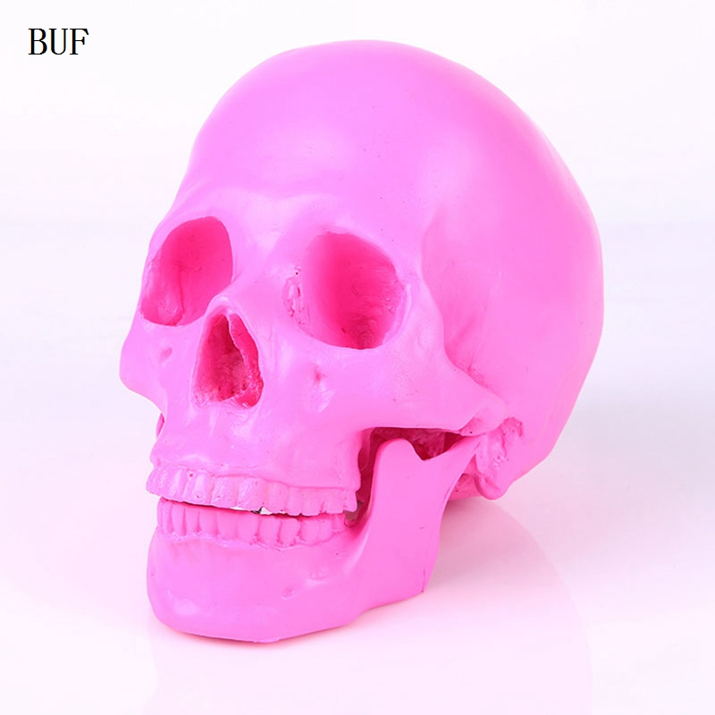 BUF Resin Craft Pink Skull Statues For Decoration Creative Skull Statue Sculpture Home Decoration Halloween Decoration