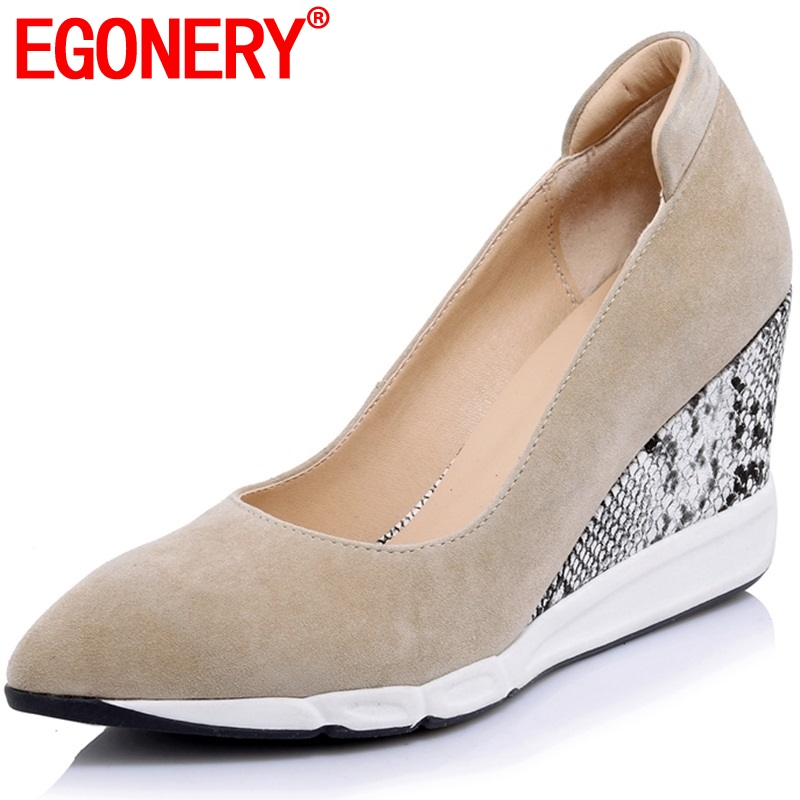 EGONERY Sheepskin suede Office Lady pumps Spring Autumn Totem Pointed Toe Snake skin pattern Casual High