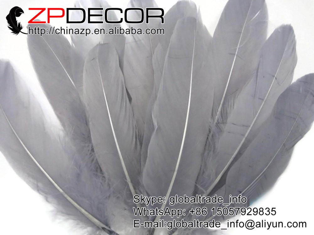 Goose Feathers, 1 4 lb - GREY Goose Satinettes Loose Feathers (bulk)