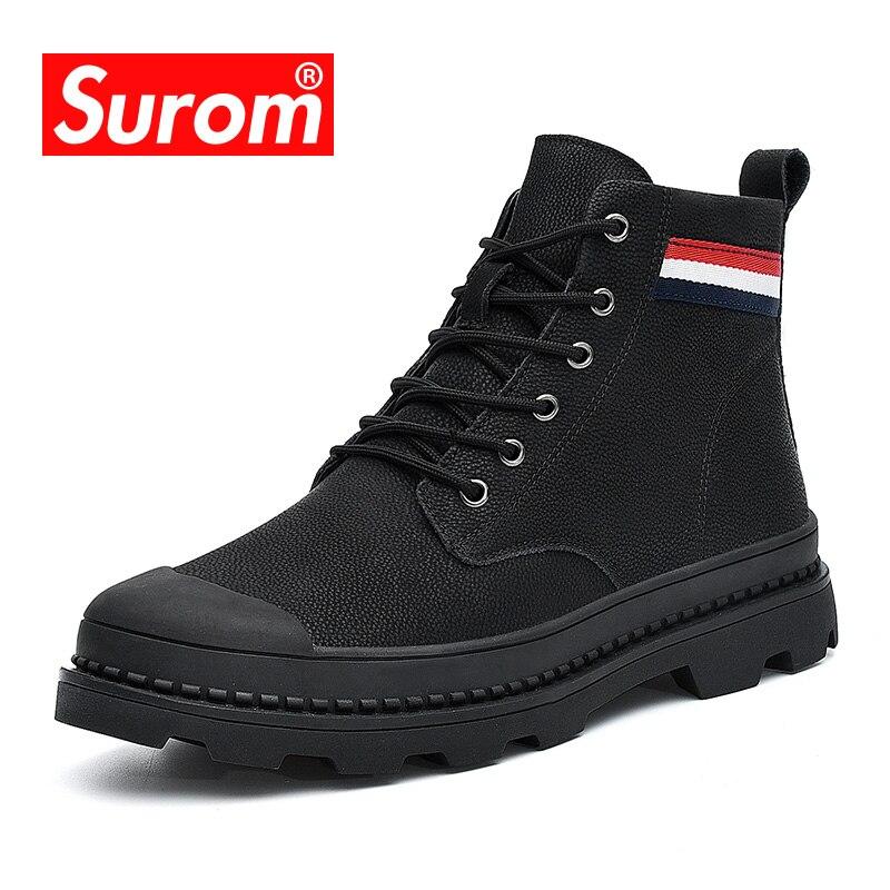 SUROM En Cuir Hommes Bottes De Mode Hommes Chaussures Casual Non-slip Dentelle Up Erkek Bot Confortable Chaud Zapatos De Hombre trekking