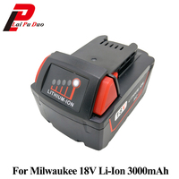 Hot Sale 18v 3000mAh Power Tool Battery Replacement Li Ion For MILWAUKEE M18 48 11 1828