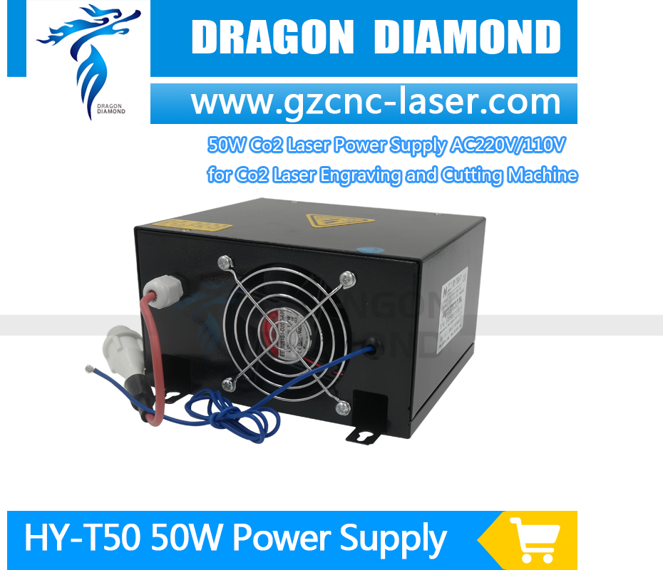 50W CO2 Laser Power Supply HY-T50 common source for CO2 Laser Engraving Cutting Machine 2pcs lot 60w laser power supply psu high voltage flyback hongyuan hy t60 co2 engraving cutting machine ignition coil