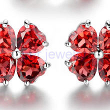 Серьги-гвоздики из натурального красного граната, Стерлинговое Серебро 925 пробы,, цветок, любовь, сердце, стиль 0.5ct* 8 шт., драгоценный камень C911252