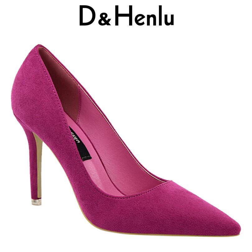 D&Henlu Brand Shoes Woman Purple Flock High Heels Women Pumps Metal Heel Wedding Shoes Christmas present dames schoenen newest solid flock high heel pumps woman