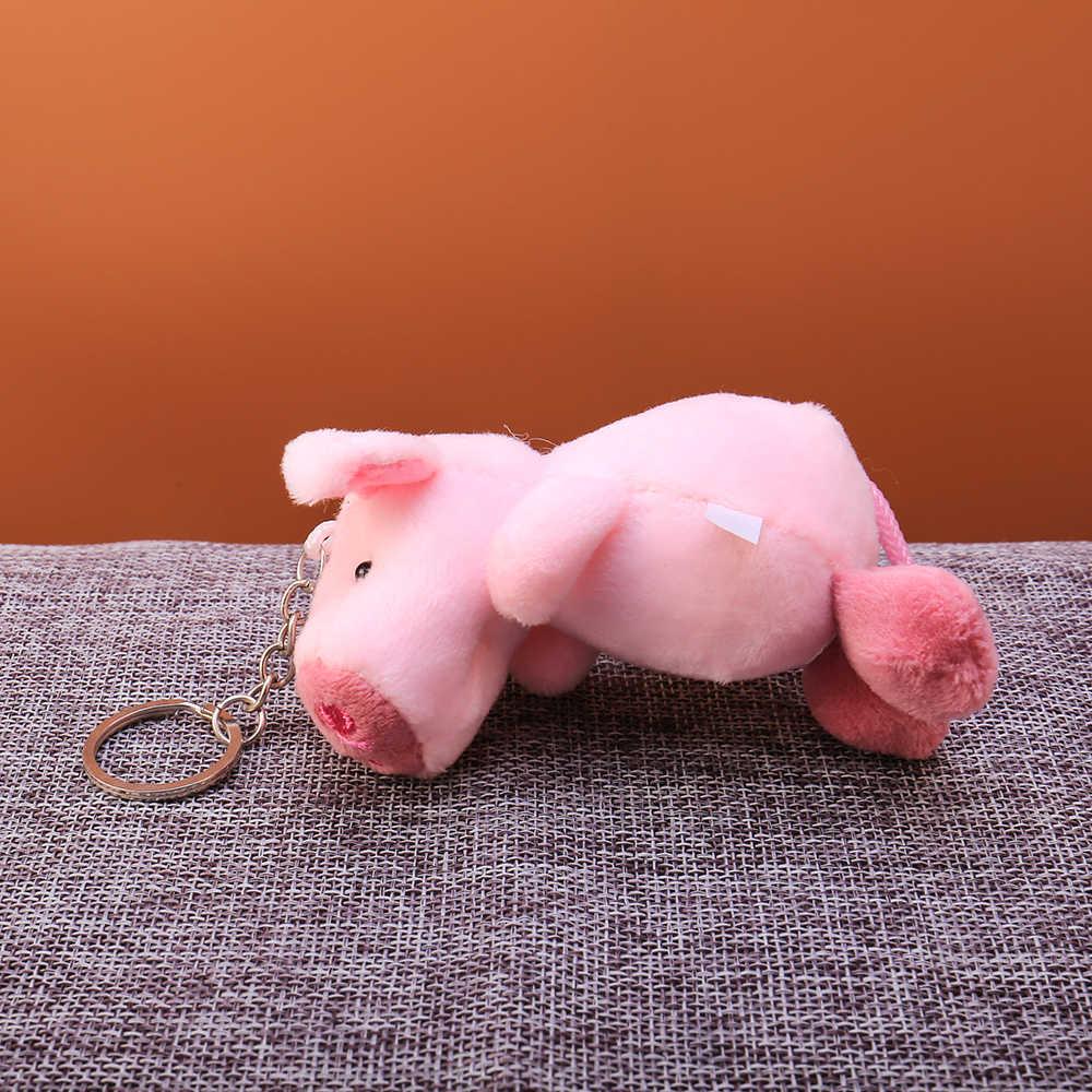 Hoạt hình dễ thương Lông Bóng Sang Trọng Móc Khóa Hồng động vật Lợn Túi Mặt Dây Chuyền chìa khóa Giá Đỡ bé trai Chimmy Túi Xách Charm Dành Cho bé trai bé gái