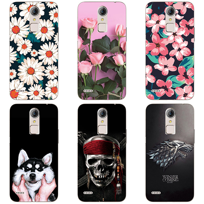 Soft silicone Phone Cases For <font><b>ZTE</b></font> Blade A1 C880A C880U <font><b>C880S</b></font> C880 Soft TPU Material Back Cover Coque Print painting Flower style image
