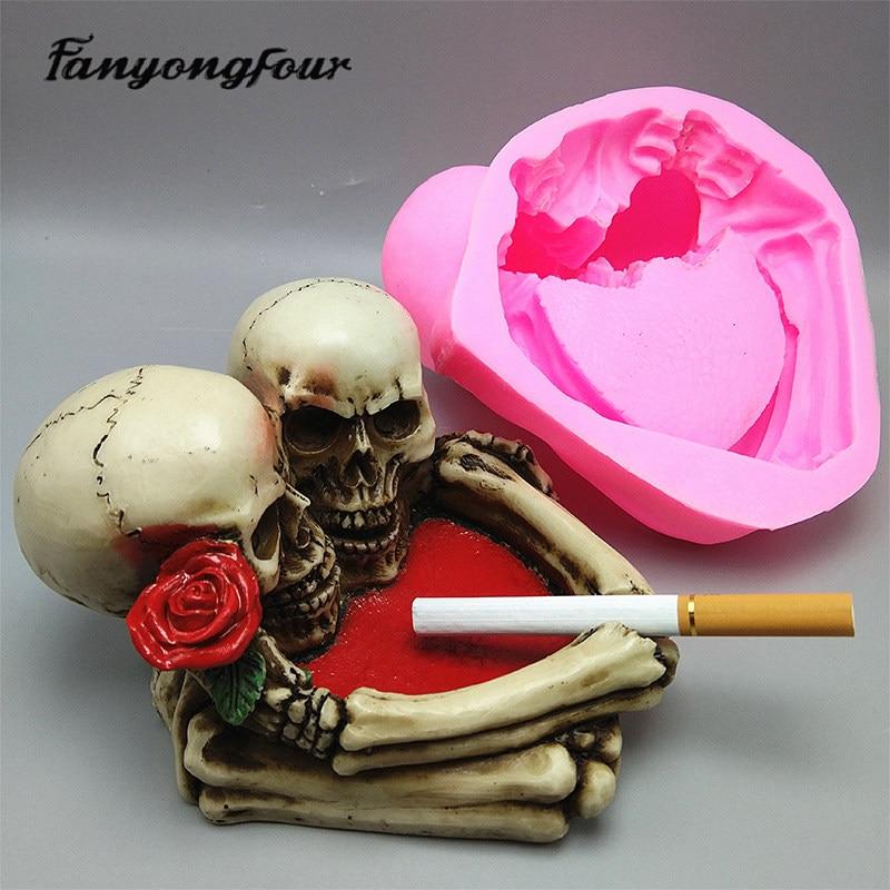 Skull Ashtray 3D Silicone Mold Fondant Cake Resin Gypsum Candle Chocolate Candy