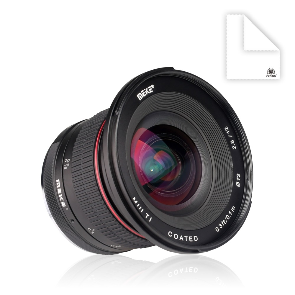 MEKE 12mm f/2.8 Ultra Grand Angle Objectif Fixe avec Amovible Hood pour Fuji Caméra avec APS-C