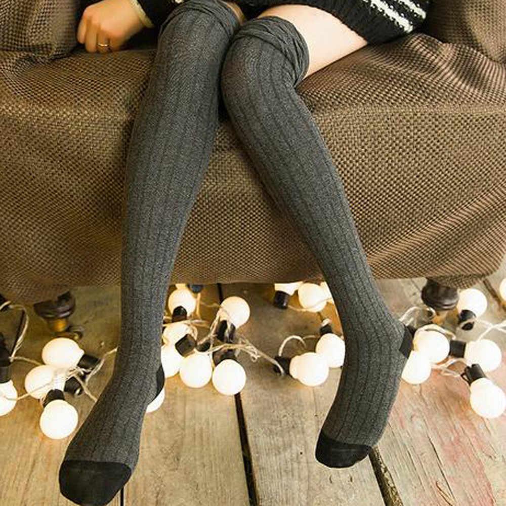 Calcetines/Винтажные женские мягкие зимние вязаные сапоги выше колена в стиле ретро; теплые высокие носки до бедра; 2018