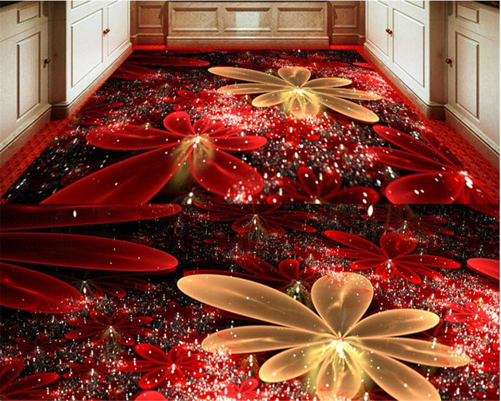 Beibehang Papel De Parede Custom Home Furnishing Decorative Painting Colorful Flowers Light Highlights 3d Flooring Wallpaper